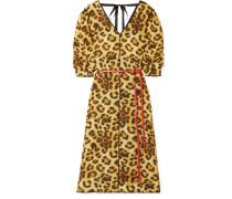 Kleid aus Taft mit Leopardenprint und Gürtel
