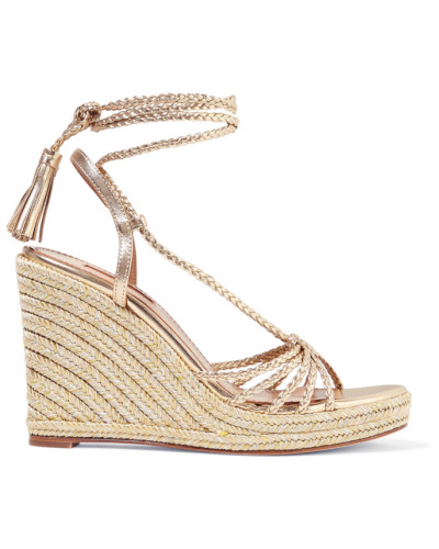 Savannah 120 Espadrille-wedges aus Metallic-leder