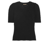 Pullover Aus Einer Gerippten Wollmischung Mit Metallic-effekt -