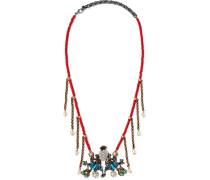 Perlenverzierte Kette In Einem Brünierten Goldton - Rot
