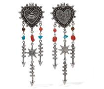 Silberfarbene Ohrringe Mit Perlen