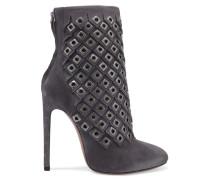 Ankle Boots Aus Veloursleder Mit ösenverzierung - Grau