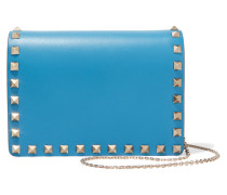 The Rockstud Mini Schultertasche Aus Leder - Azurblau