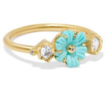 Rivera Flower Ring Aus 18 Karat  Mit Türkis Und Diamanten