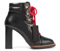 Ankle Boots Aus Leder Mit Troddeln - Schwarz
