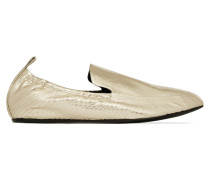 Loafers Aus Wasserschlangenleder In Metallic-optik -