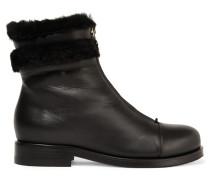 Denver Ankle Boots Aus Leder Mit Shearling-besatz - Schwarz