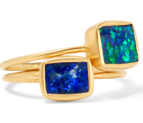 Set Aus Zwei Ringen Aus 18 Karat  Mit Opalen