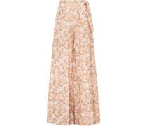 Elaina Leinenhose mit Weitem Bein und Blumenprint -