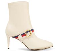 Ankle Boots Aus Leder Mit Ripsbandbesatz -