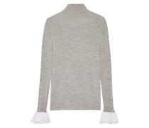 Rollkragenpullover Aus Wolle Mit Besatz Aus Seidenchiffon Und Spitze - Grau