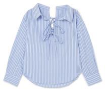 Schulterfreies Hemd Aus Einer Gestreiften Baumwoll-tencel®-mischung -