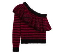 Pullover Aus Einer Mohairmischung Mit Asymmetrischer Schulterpartie Und Rüschen - Rot
