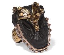 Brünierter Vergoldeter Ring Mit Ebenholz
