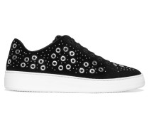 Sneakers Aus Veloursleder Mit ösenverzierung -