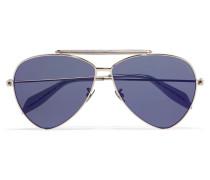Silberfarbene Pilotensonnenbrille - Lila