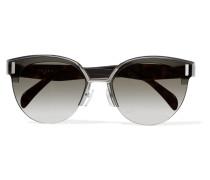 Silberfarbene Sonnenbrille mit Cat-eye-rahmen und Azetatdetails -