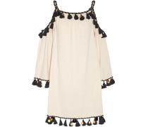 Schulterfreies Minikleid Aus Seiden-bourette Mit Verzierung - Elfenbein
