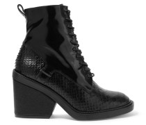 Bono Ankle Boots Aus Lackleder Und Leder Mit Schlangeneffekt - Schwarz