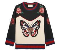 Sweatshirt Aus Bondiertem Baumwoll-jersey Mit Stickerei - Elfenbein
