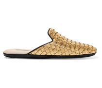 Loafers aus Intrecciato-leder in Metallic-optik -