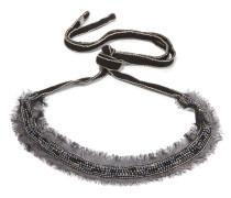 Perlenverzierter Choker Aus Chiffon Mit Silberfarbenen Details -