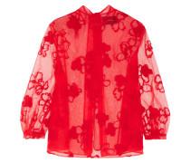 Bestickte Bluse Aus Tüll - Rot