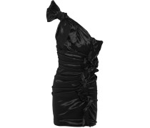 Nyree Gerafftes Minikleid Aus Taft Mit Asymmetrischer Schulterpartie - Schwarz