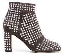 Nietenbesetzte Ankle Boots Aus Veloursleder - Grau