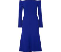 Schulterfreies Kleid aus Crêpe aus einer Stretch-Wollmischung