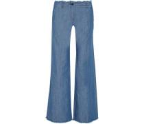 Frayed hoch sitzende Jeans mit weitem Bein