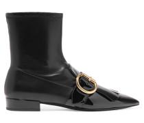 Ankle Boots Aus Leder Mit Fransenbesatz Und Schnalle - Schwarz