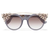Vivy/s Goldfarbene Sonnenbrille Mit Rundem Rahmen Aus Azetat Mit Verzierung -