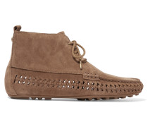 Westley Ankle Boots Im Mokassin-stil Aus Veloursleder Mit Details Im überwendlichstich - Hellbraun