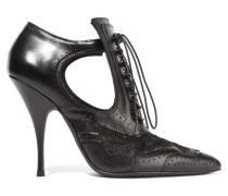 Ankle Boots Aus Schwarzem Leder Und Spitze Mit Cut-outs
