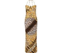 Bedruckte Robe aus Satin mit Kettenverzierung -