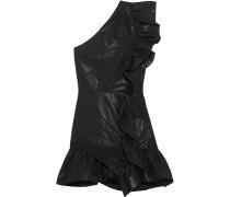 Lavern Minikleid Aus Einer Beschichteten Baumwollmischung Mit Asymmetrischer Schulterpartie Und Rüschen -