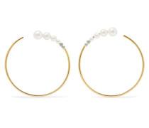 Ohrringe Aus 18 Karat  Mit Diamanten Und Süßwasserperlen