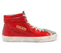 Slide High-top-sneakers Aus Lackleder Und Kalbshaar In Distressed-optik -