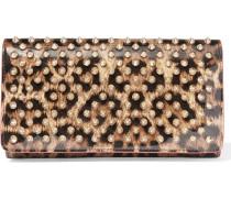 Macaron Portemonnaie aus Lackleder mit Leopardenprint und Nieten