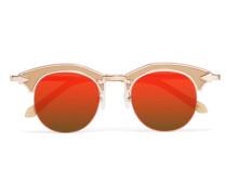 Buccaneer Goldfarbene Cat-eye-sonnenbrille Mit Details Aus Azetat -