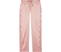 Pyjama-Hose aus Satin aus einer Seidenmischung mit Chantilly-Spitzeneinsätzen