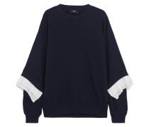Sweatshirt Aus Baumwoll-jersey Mit Crêpe-besätzen - Navy