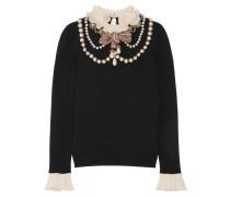 Verzierter Pullover Aus Einer Wollmischung Mit Rüschen - Schwarz