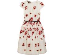 Besticktes Minikleid Aus Organza Mit Satinbesatz - Weiß