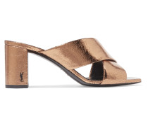 Loulou Mules Aus Craquelé-leder In Metallic-optik -