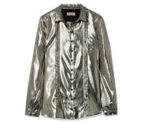 Lamé-hemd aus einer Seidenmischung mit Biesen -