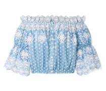 Renee Schulterfreies Oberteil aus Baumwolle mit Lochstickerei und Polka-dots -