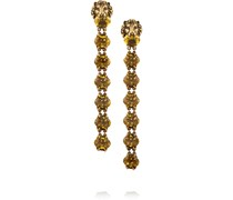 Goldfarbene Ohrclips mit Kristallen