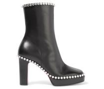 Olympia Ankle Boots Aus Leder Mit Plateau Und Kristallverzierungen -